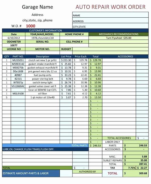Auto Repair order Template Word Elegant Extra Work order form Template Printable Best Word