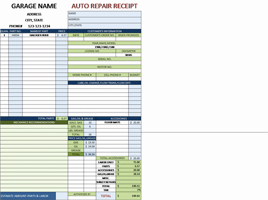 Auto Repair order Template Word Luxury Auto Repair Invoice for A Garage with Tax