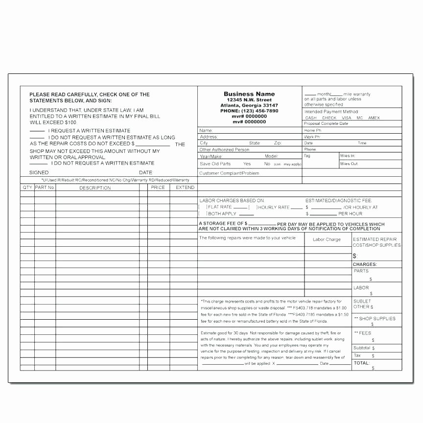 Auto Repair order Template Word Luxury Repair order Template Auto Free Work Estimate Car forms
