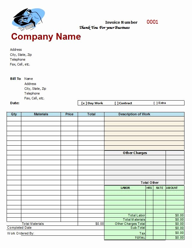 Auto Repair order Template Word New Mechanics Invoice