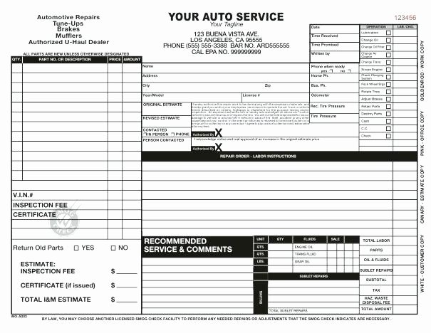 Auto Repair order Template Word Unique Extra Work order form Template Printable Best Word