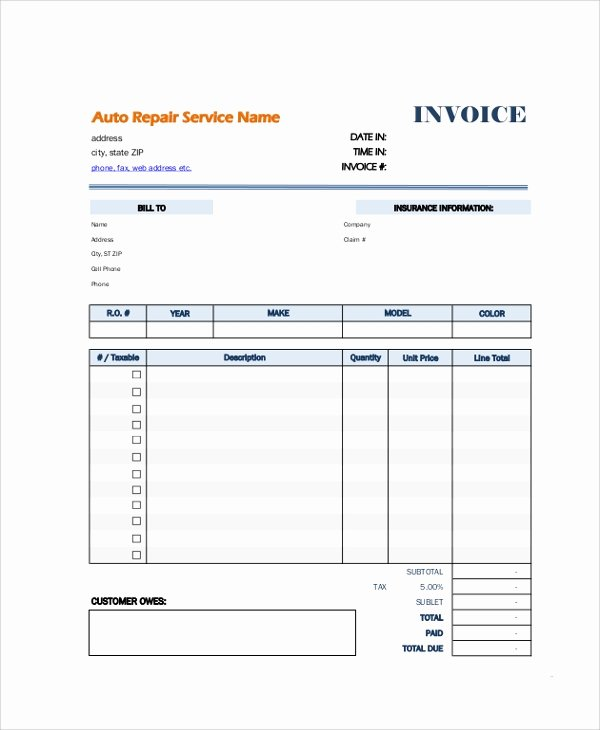 Auto Repair Receipt Template New 8 Sample Blank Invoice Templates
