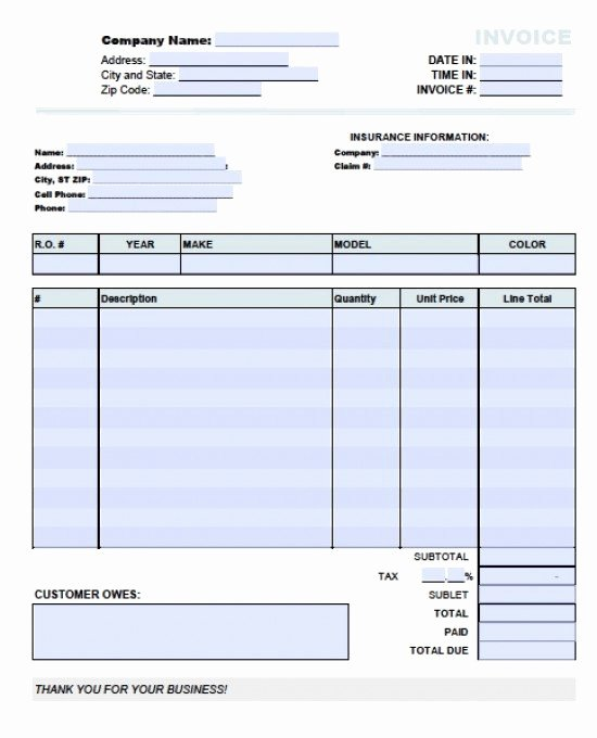 Auto Repair Receipt Template New Free Auto Body Repair Invoice Template Excel
