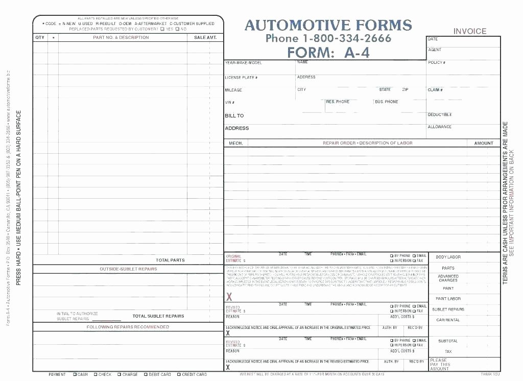 Auto Repair Receipt Template New Mechanic Receipt Template – Samplethatub