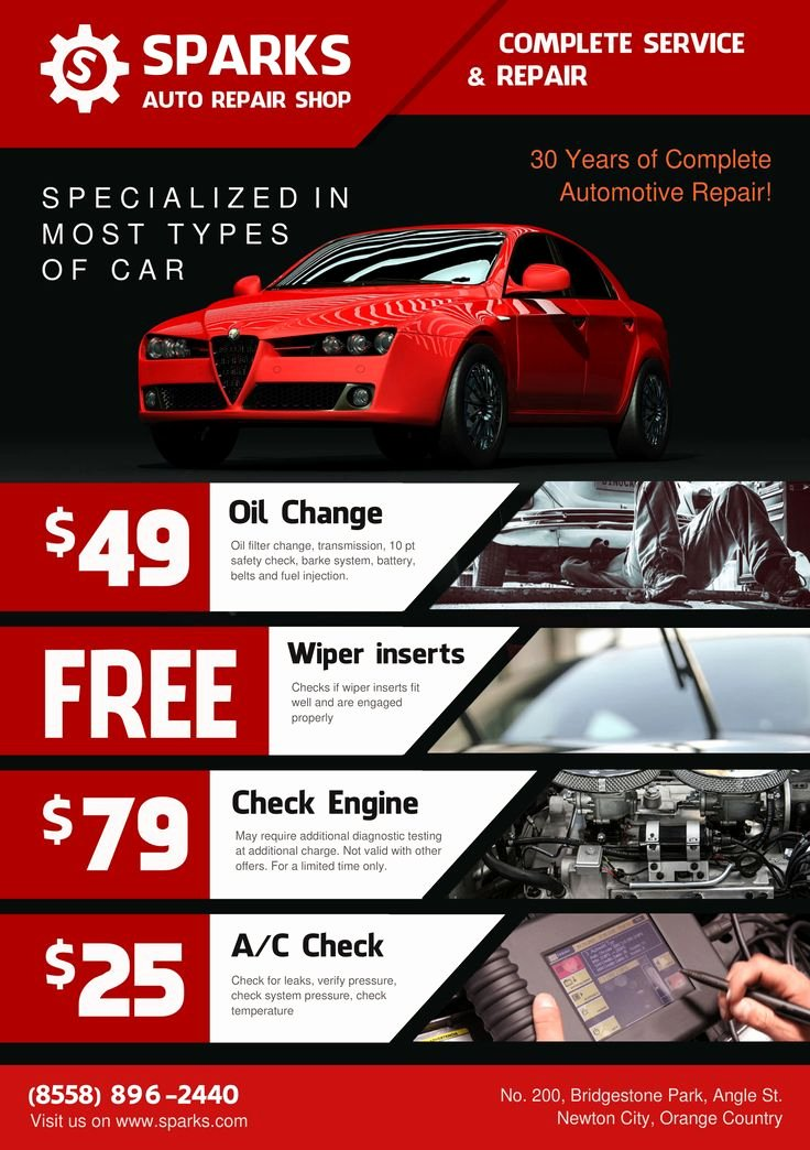 Auto Repair Template Free Awesome Template for Flyer A5 Auto Repair Shop theme