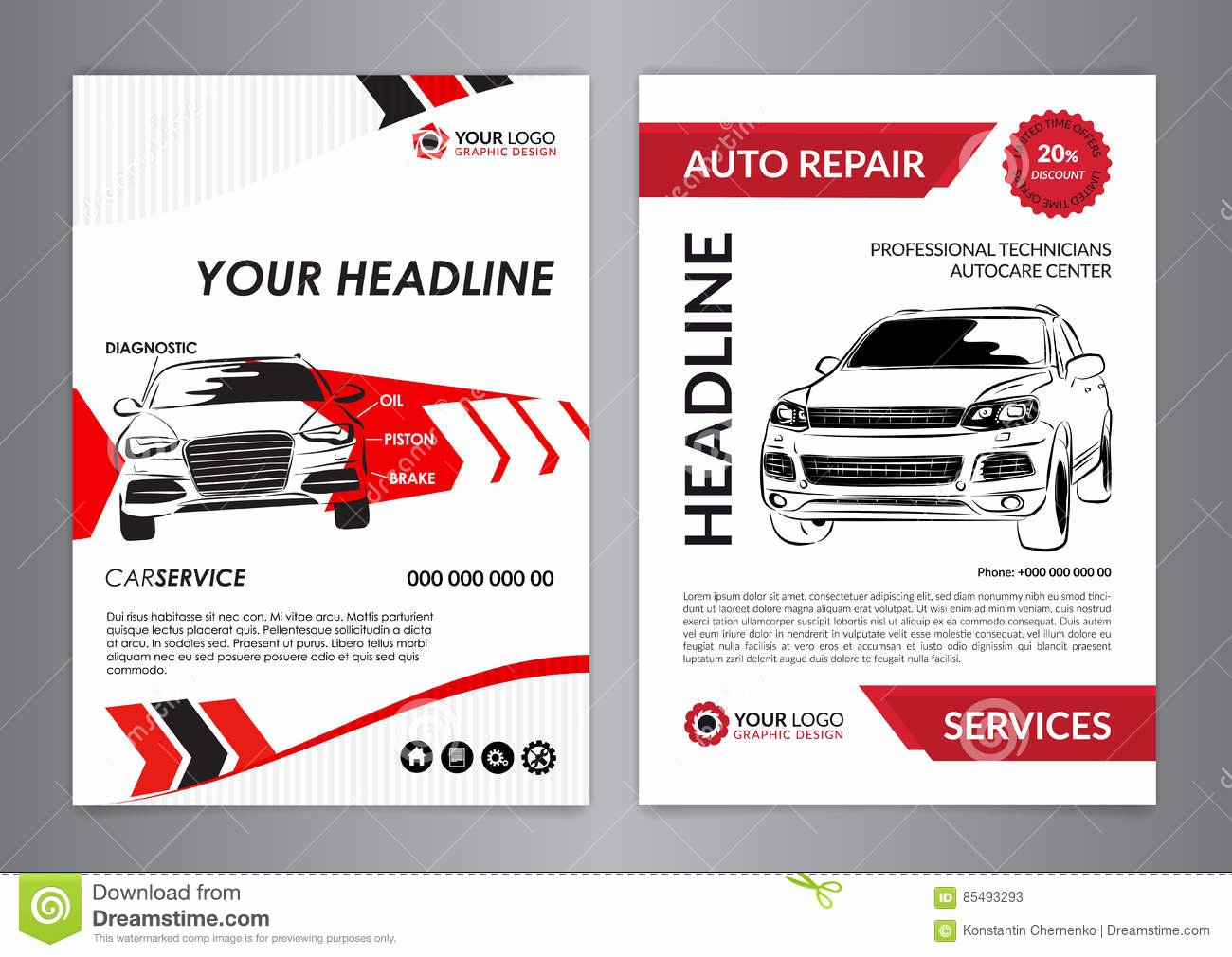 Auto Repair Template Free Fresh Set A4 Auto Repair Business Layout Templates Automobile