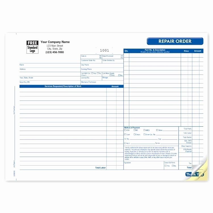 Auto Repair Template Free Lovely Automotive Repair Invoice form