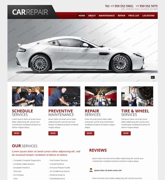 Auto Repair Website Template Awesome 70 Best Car Auto Website Templates Free & Premium