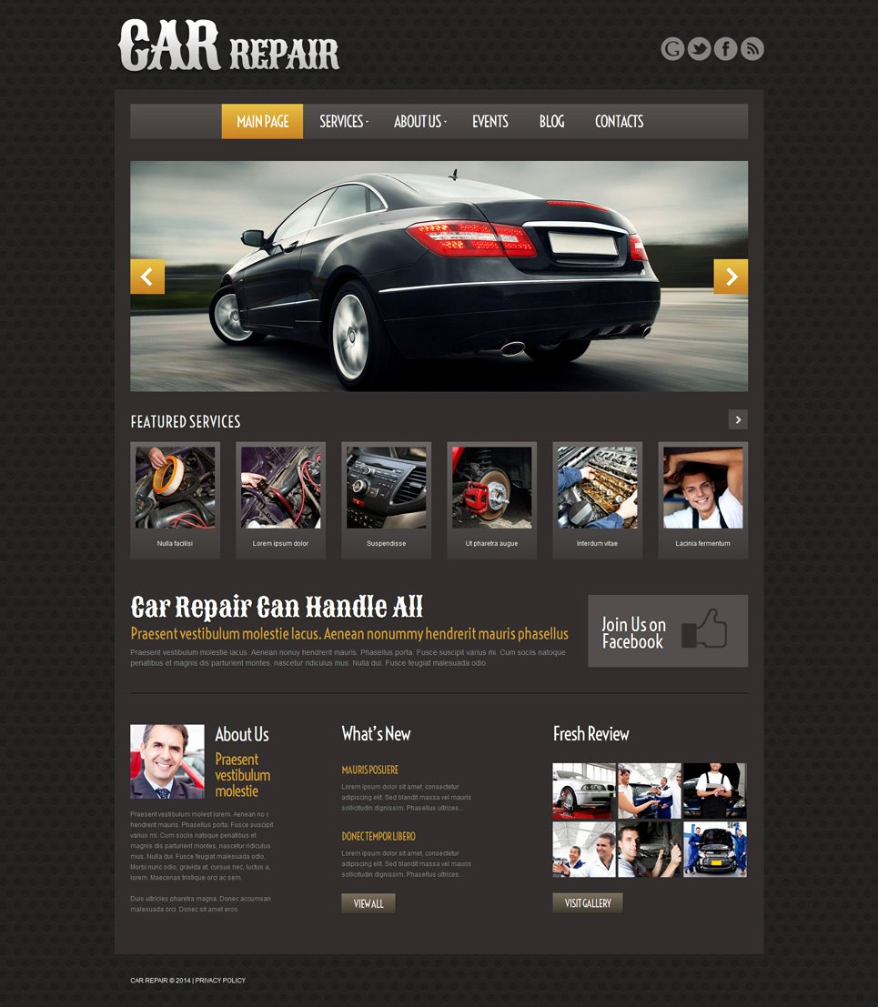 Auto Repair Website Template Awesome Car Repair Responsive Wordpress theme
