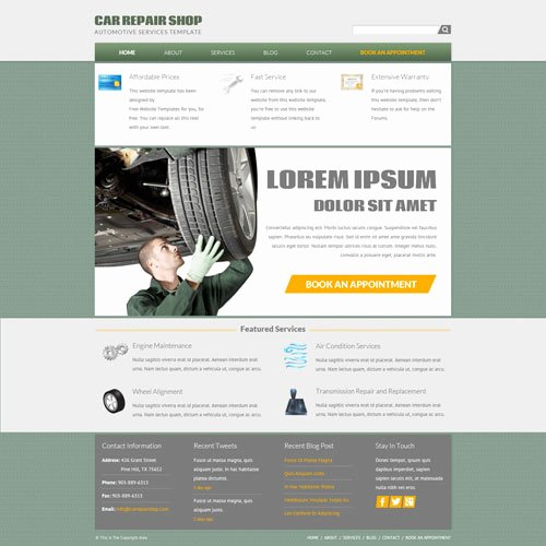 Auto Repair Website Template Elegant Car Repair Shop Website Template