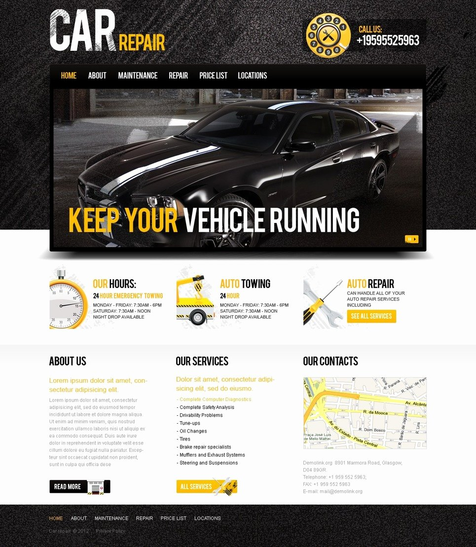 Auto Repair Website Template Inspirational Car Repair Website Template
