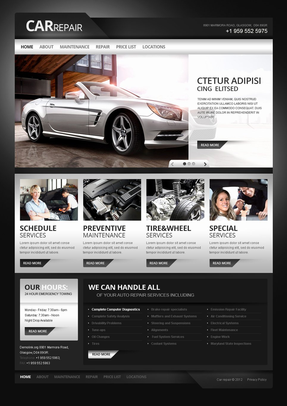 Auto Repair Website Template Lovely Car Repair Moto Cms HTML Template