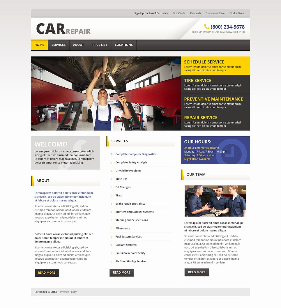 Auto Repair Website Template Lovely Car Repair Responsive Website Template