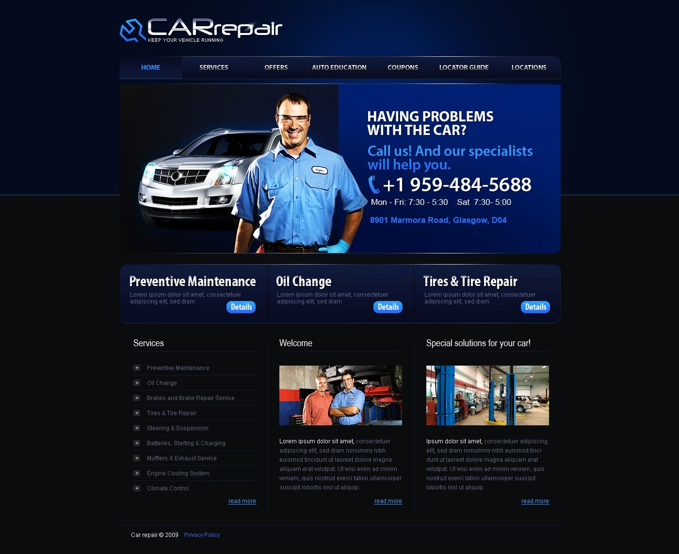 Auto Repair Website Template Luxury Car Repair Website Template