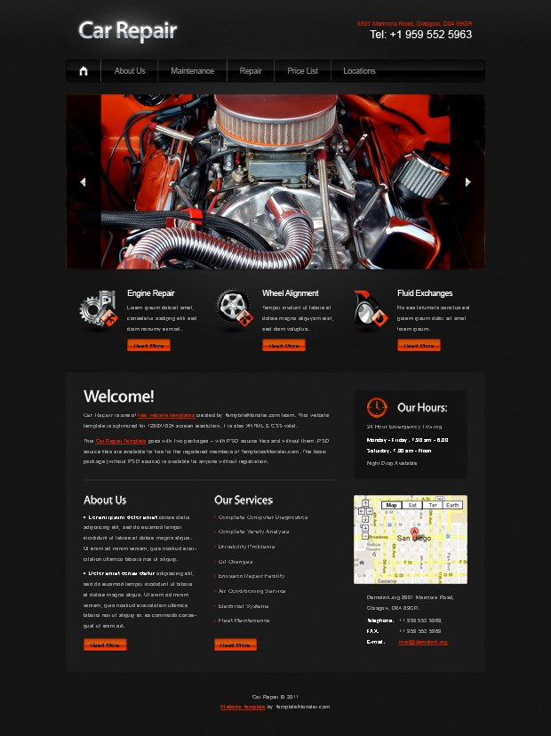 Auto Repair Website Template Luxury Car Repairing Jquery Web Template Freepsdfile