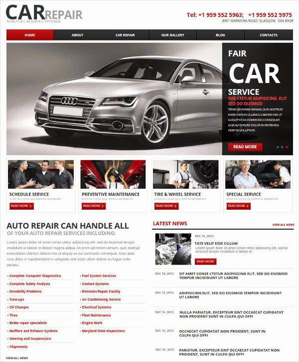 Auto Repair Website Template New 25 Auto Repair Website themes & Template