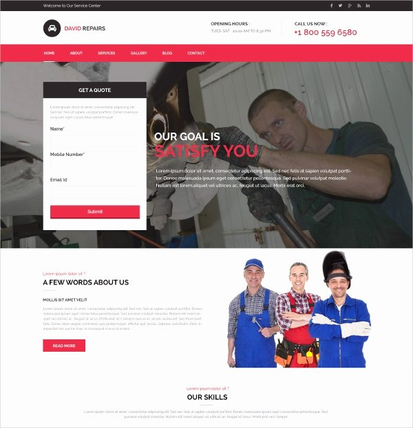 auto repair website theme