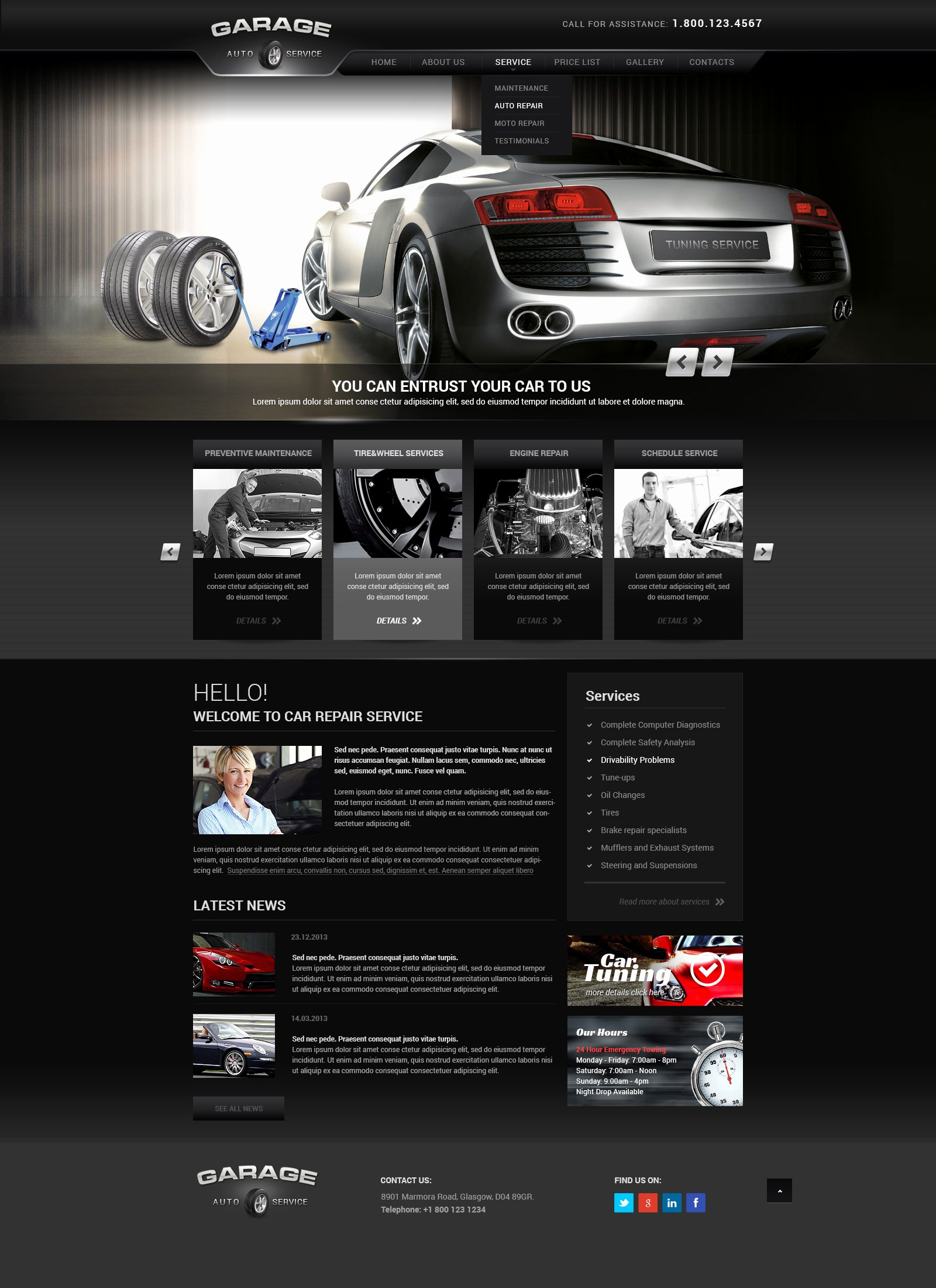 Auto Repair Website Template Unique Car Tuning Car Service Wordpress theme