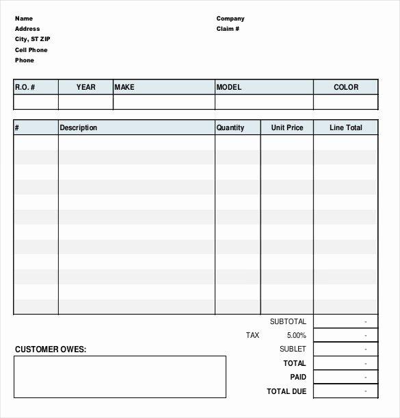Auto Repair Work order Template Beautiful Automotive Work order Template Free Templates Resume