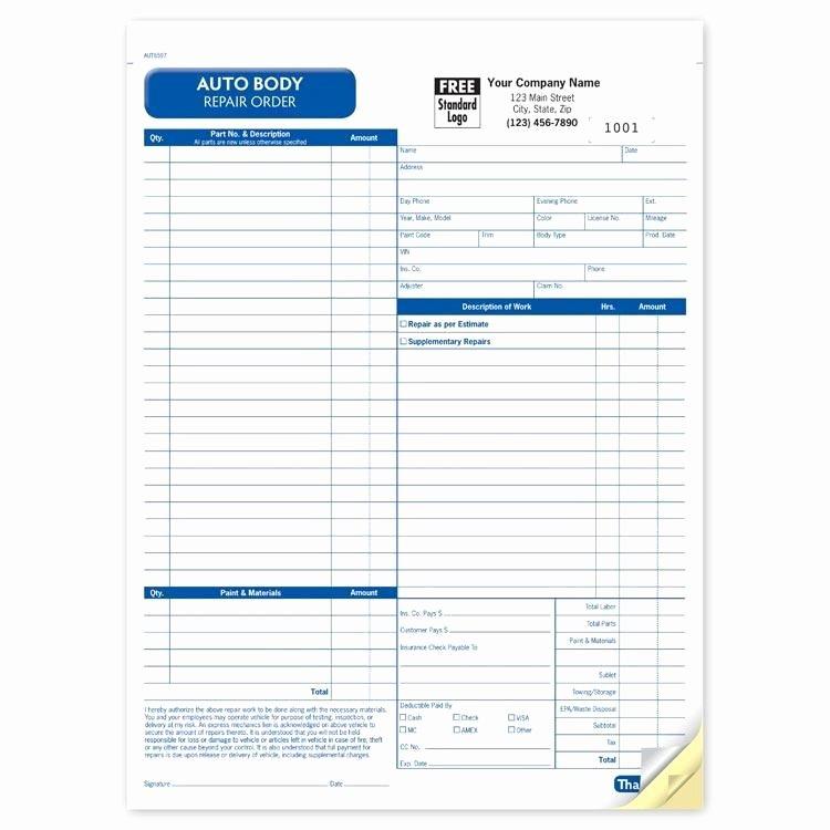 Auto Repair Work order Template Best Of Auto Body Repair Invoice