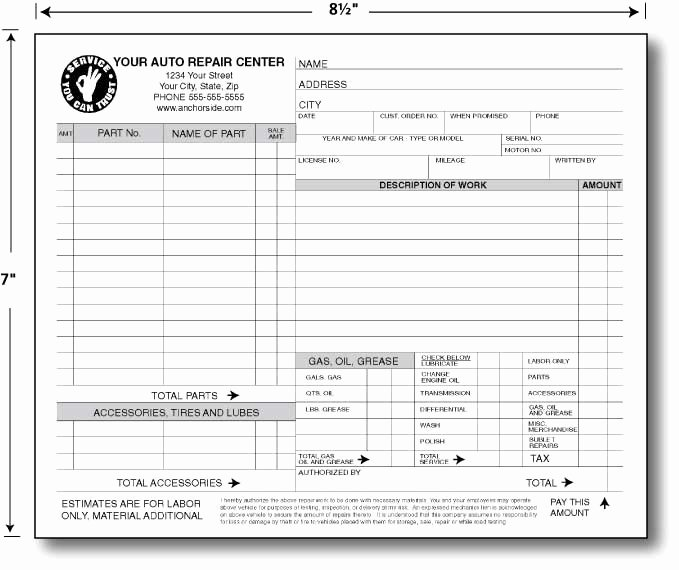 Auto Repair Work order Template New Anchorside Carbonless form Templates