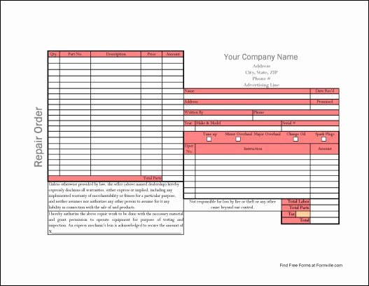 Auto Work order Template Elegant Free Simple Automotive Repair order From formville