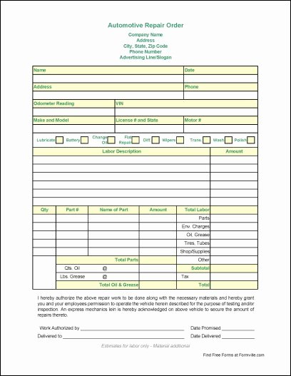 Auto Work order Template Unique Automotive Work order Template