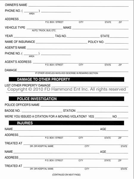Automobile Accident Report form Template Best Of Driver's Preliminary Accident Report form Ly – No 1209