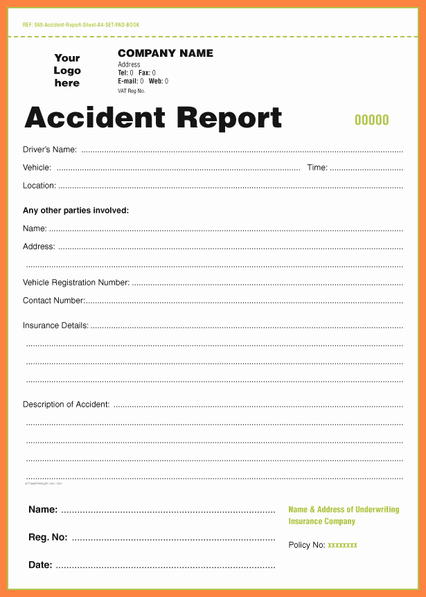 Automobile Accident Report form Template Fresh 4 Accident Incident Report form Template