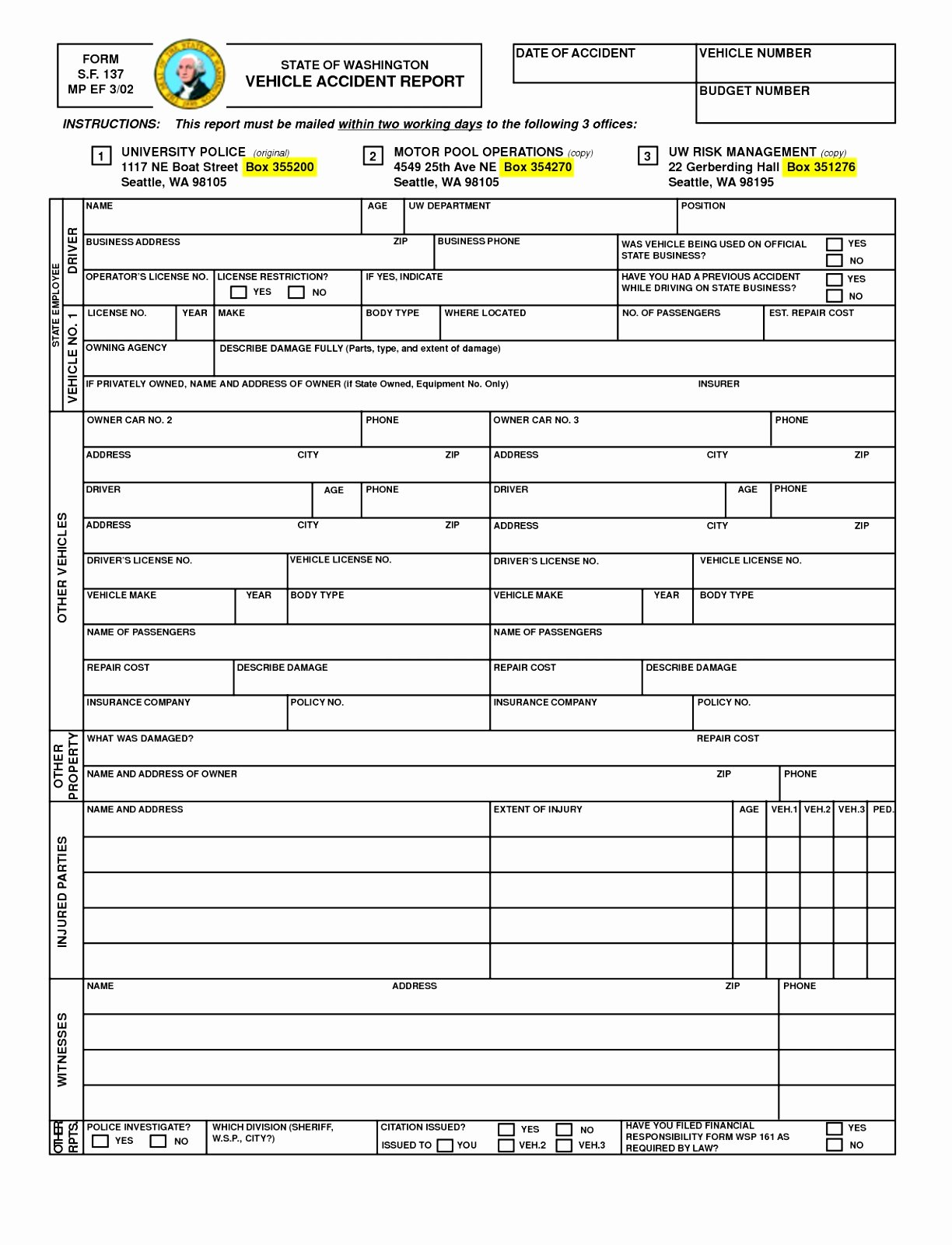 Automobile Accident Report form Template New 9 Motor Vehicle Accident Report form Template Puhop