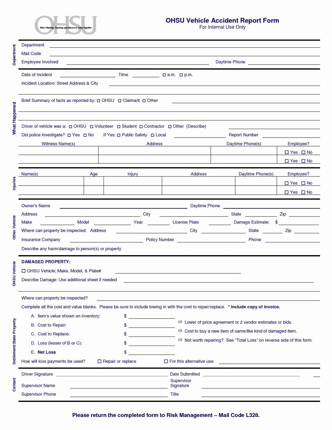 Automobile Accident Report form Template New form Car Accident Report form