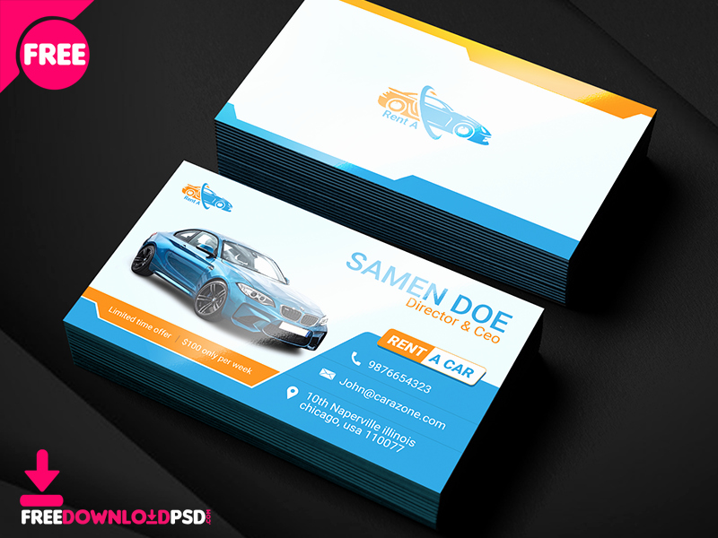 Automotive Business Card Template Free Awesome Free Rent A Car Business Card Template by Free Download