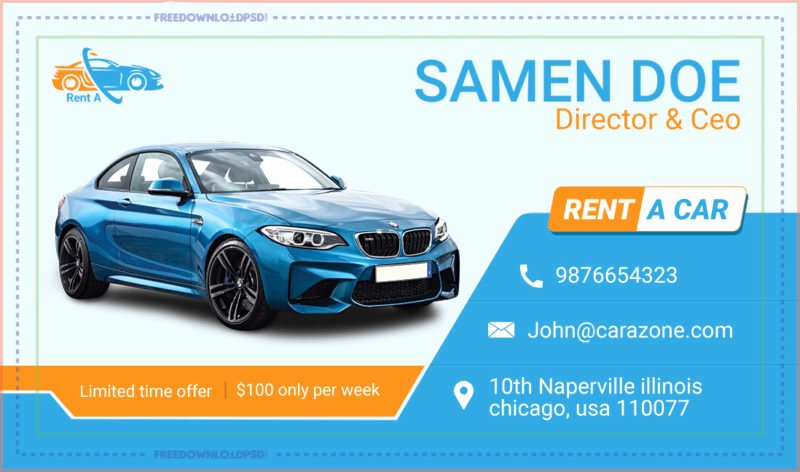 Automotive Business Card Template Free Best Of Free Rent A Car Business Card Template