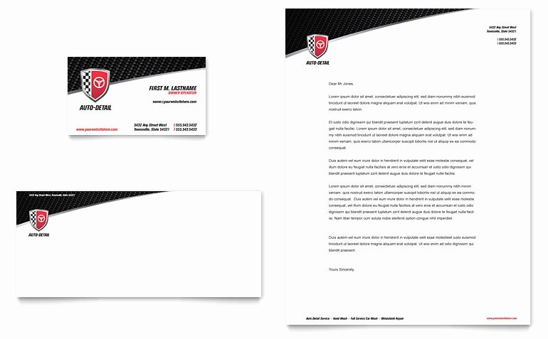Automotive Business Card Template Free Inspirational Auto Detailing Business Card & Letterhead Template Word