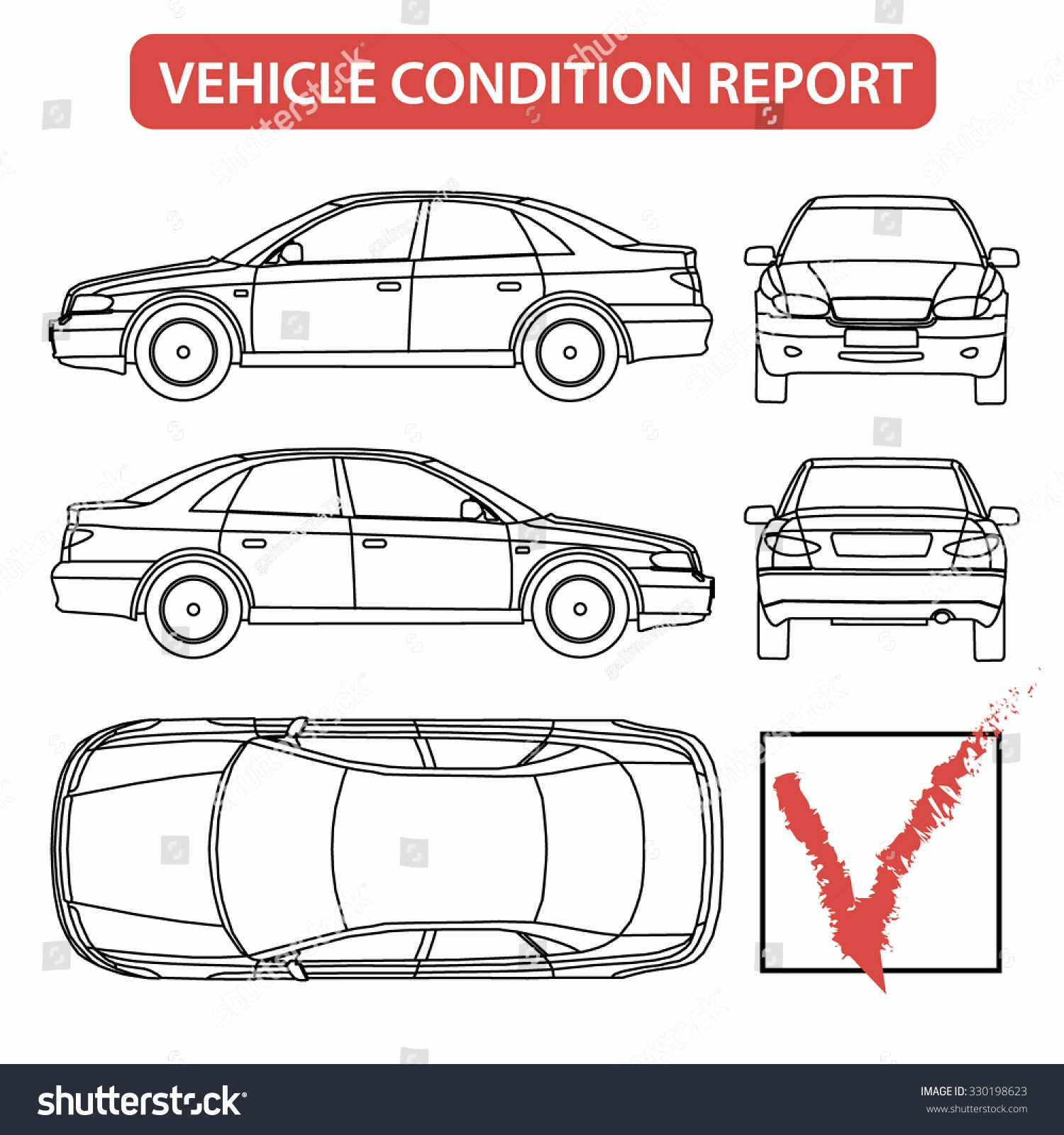 Automotive Inspection Checklist Template Beautiful Car Condition form Vehicle Checklist Auto Stock Vector