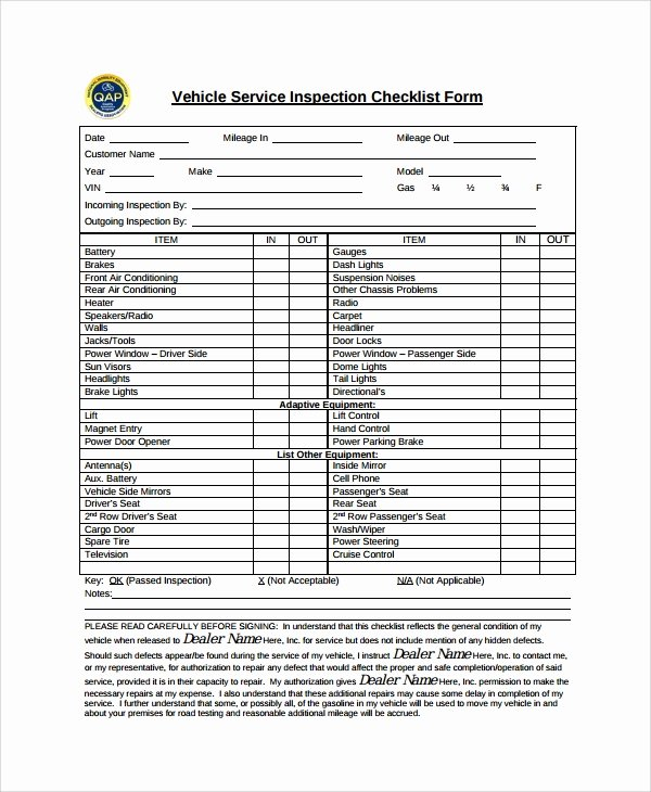 Automotive Inspection Checklist Template Elegant 12 Vehicle Inspection Checklist Templates Pdf Word