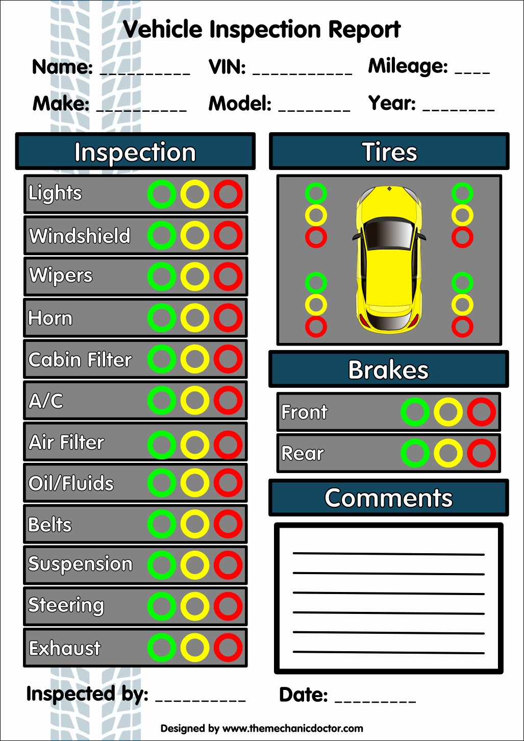 Automotive Inspection Checklist Template Lovely Vehicle Inspection Sheet Template
