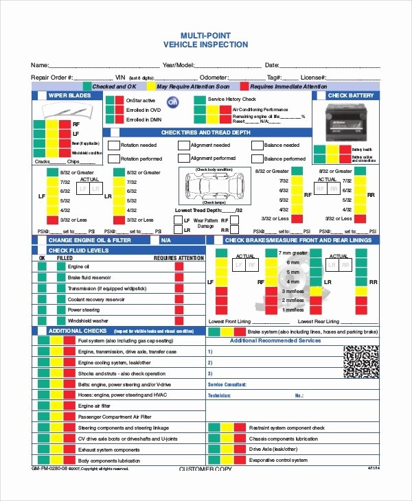 Automotive Inspection Checklist Template Luxury Free Printable Vehicle Inspection form