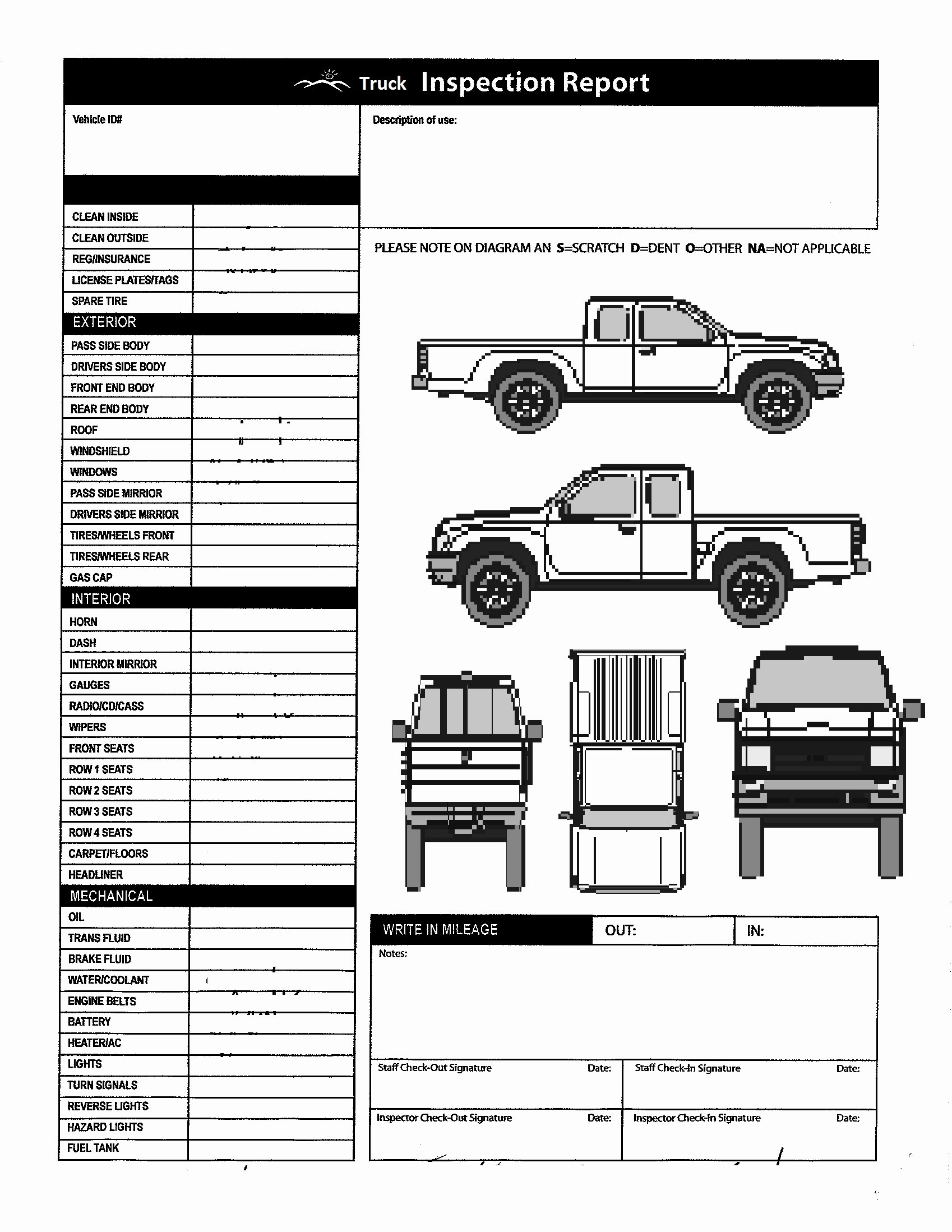 Automotive Inspection Checklist Template Unique Checklist Printable Vehicle Inspection Checklist Template