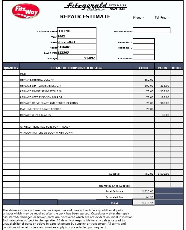 Automotive Repair Estimate Template Beautiful 9 Free Sample Auto Repair Quotation Templates Printable