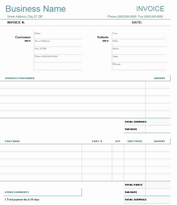 Automotive Repair Invoice Template Awesome 9 Free Sample Auto Repair Quotation Templates Printable