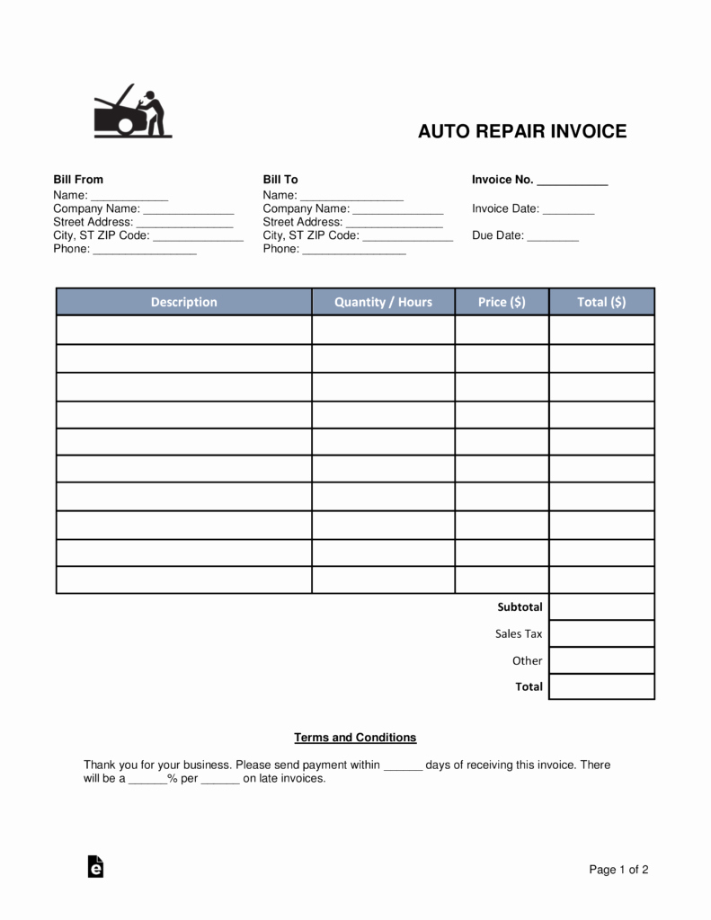 Automotive Repair Invoice Template Awesome Free Auto Body Mechanic Invoice Template Word