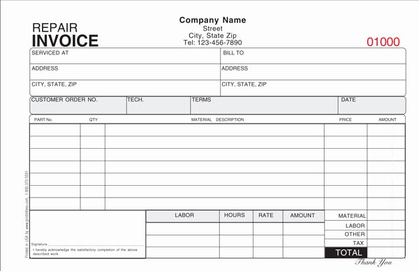 Automotive Repair Invoice Template Beautiful Repair Invoice Template