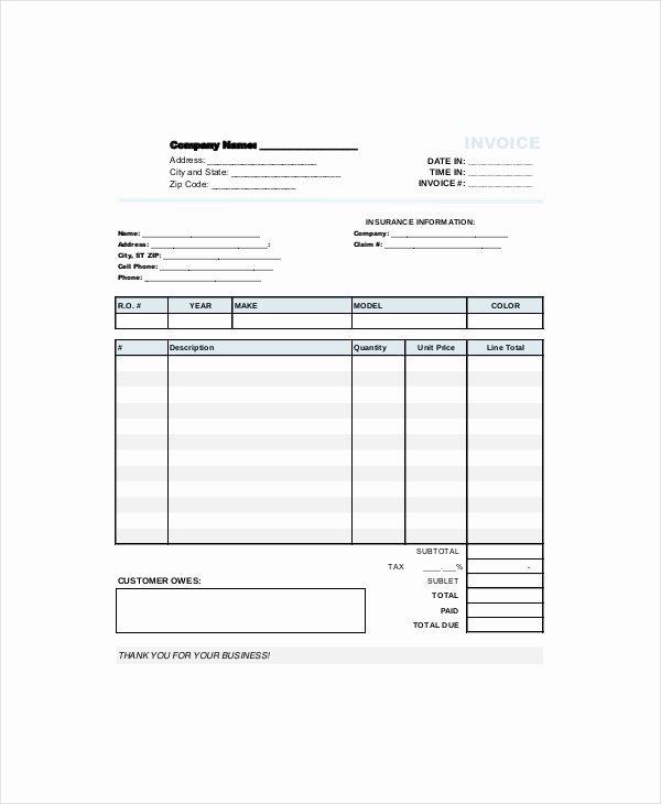 Automotive Repair Invoice Template Best Of Repair Invoice Template 7 Free Word Excel Pdf