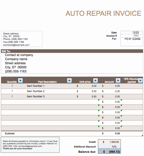 Automotive Repair Invoice Template Excel Beautiful Auto Repair Invoice Template Word