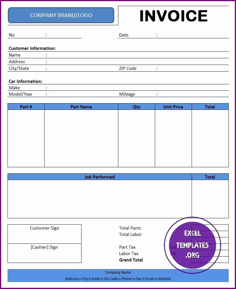Automotive Repair Invoice Template Excel Beautiful Fake Car Repair Invoice Vehicle Repair Invoice Free