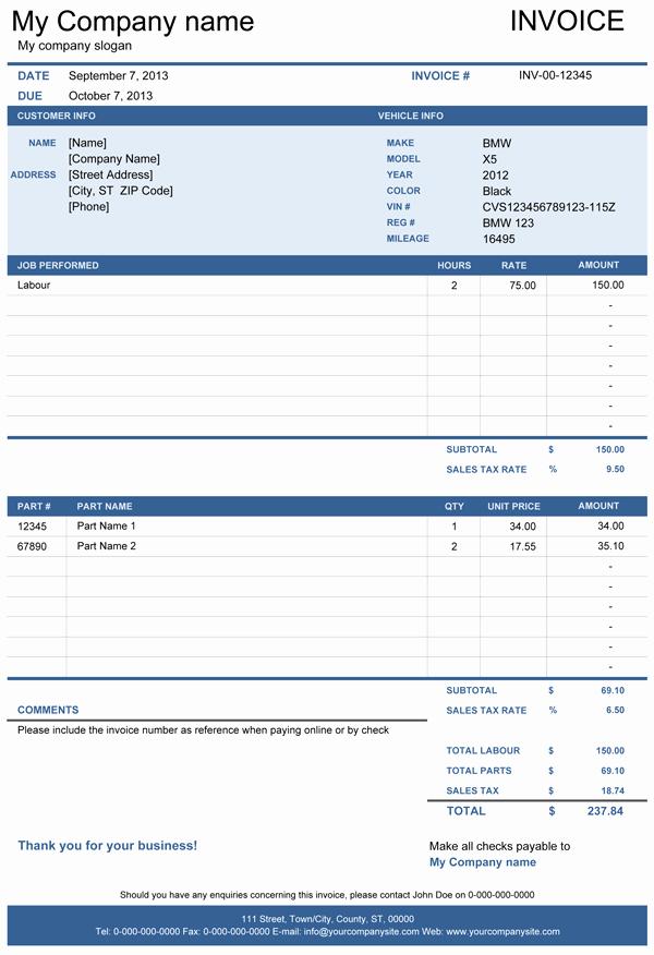 Automotive Repair Invoice Template Excel Beautiful Vehicle Repair Invoice