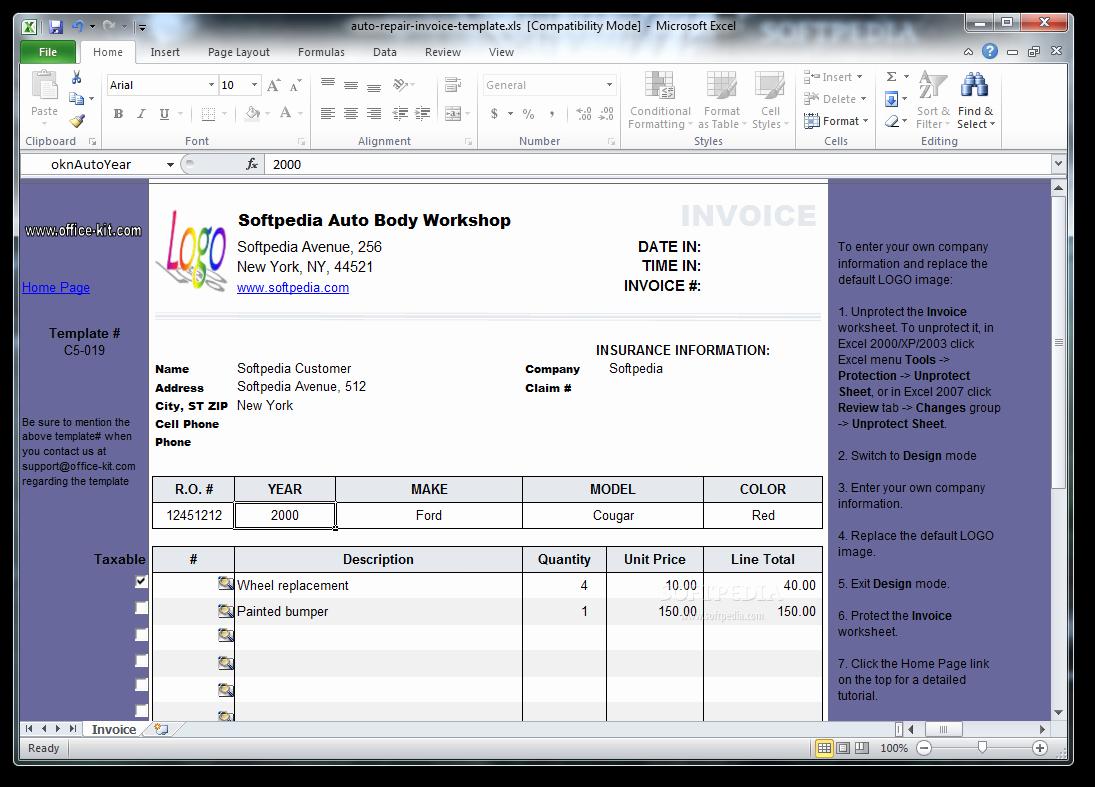 Automotive Repair Invoice Template Excel Elegant Download Auto Repair Invoice Template