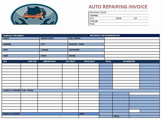 Automotive Repair Invoice Template Excel Fresh Auto Repair Invoice Template