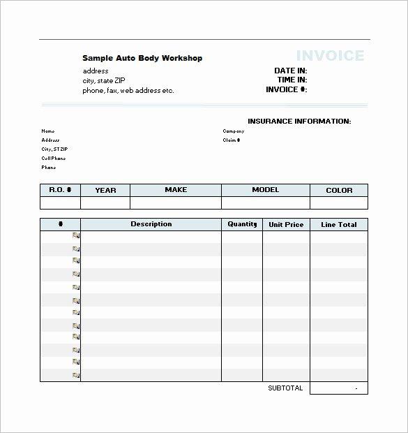 Automotive Repair Invoice Template Excel Inspirational 20 Repair Estimate Templates Word Excel Pdf
